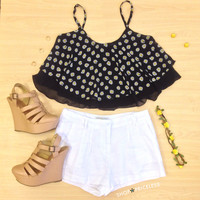 Denver Daisy Crop Top - Black