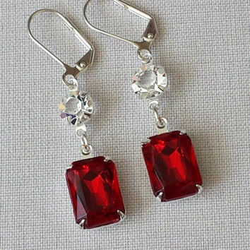 Red Earrings made with Vintage Siam Swarovski Crystals and a smaller Vintage Crystal on top.