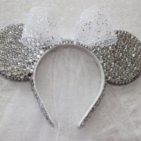 Disney Bridal Minnie Mouse Rhinestone Ears with Veil - MADE TO ORDER
