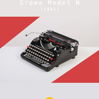 RESERVED /// 1941 Groma Model N Typewriter. Refurbished & fully working. Glossy black. Pre-war. Portable. With case.