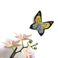 Thin Felt Brooch Pin  yellow and blue butterfly in a by katuasha