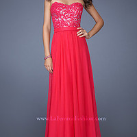 La Femme Strapless Floor Length Dress