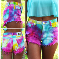 Summer Daze Tie Dye High Waisted Cutoffs