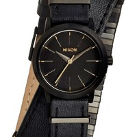 Nixon 'The Kenzi' Metal Detail Wrap Leather Strap Watch, 26mm