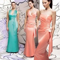 Sexy Mermaid Halter Satin Bridesmaid Gowns Bridesmaids Dress With Ribbon And Bow
