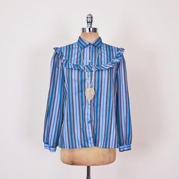 Blue Stripe Blouse Stripe Shirt Western Blouse Western Shirt Ruffle Bib Yoke Button Up Shirt 70s Blouse 70s Hippie Blouse Women M Medium