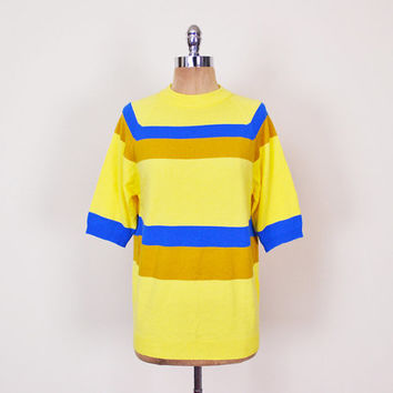 Yellow & Blue Stripe Sweater Shirt Short Sleeve Sweater Surf Surfer 60s Sweater 60s Mod Sweater 70s Sweater 70s Hippie Sweater Men M Medium