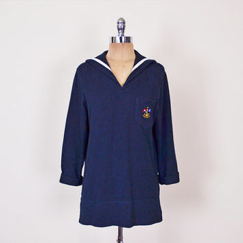Lauren Ralph Lauren Sweater Sailor Sweater Nautical Sweater Back Flap Embroider Crest Navy Blue Sweater Tunic Top Women S Small M Medium