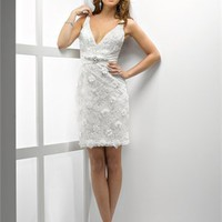 Deep V-neckline Knee-length with crystals Embroidered Lace Dress PD1873