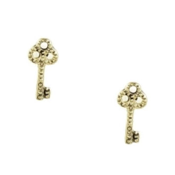 Mini Key Stud Earrings - Gold
