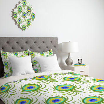 Jacqueline Maldonado Peacock Feather Ikat Duvet Cover