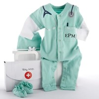 Baby M.D. Little Doctor Gift Set - Pajamas, Booties + Hat (Monogram Available)