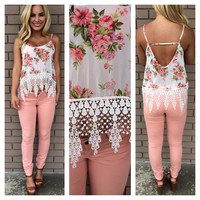 Lady Like Floral Crochet Crop Tank - WHITE