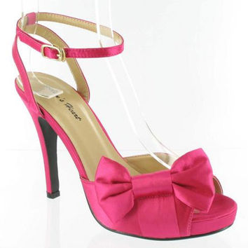 Sassy Hot Pink Satin Strappy Formal Shoes - Unique Vintage - Bridesmaid & Wedding Dresses