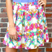 Bright Floral Print Flounce Skirt - White/Multi