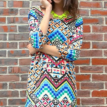 Bold Geometric Print Shift Dress - Ivory/Multi