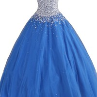 Cocomelody Women's Beading Blue Evening Ball Gown Dress PR3044