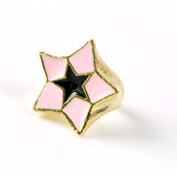 Lovely Pink Star Band Ring wholesale from yiwu jewelry wholesale market.