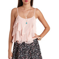 SHEER DRAWSTRING WAIST RUFFLE TANK TOP