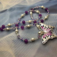 Purple Butterfly Necklace,  Swarovski Crystal Butterfly necklace, beaded butterfly necklace, butterfly pendant necklace, purple necklace