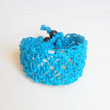 Bright Blue Wide Lacy Hemp Bracelet, ready to ship.