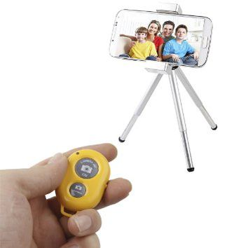 Caetle(tm) Bluetooth Wireless Remote Control Camera Shutter Release Self Timer for iPhone 5 5s 5c 4s 4, iPad 5 4 3 iPad Air Mini, Samsung Galaxy S4 S3 Note 3 2, Android Phone (yellow)
