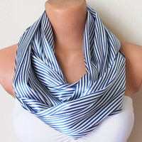 Striped Loop Infinity Satin Scarf Blue and White Soft by fairstore