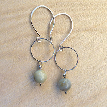Amazonite Sterling Silver Earrings, Contemporary, Modern Earrings, Minimalist Jewelry, Gemstone, Lightweight Earrings