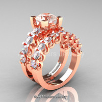 Modern Vintage 14K Rose Gold 3.0 Ct Morganite White Sapphire Designer Wedding Ring Bridal Set R142S-14KRGWSMO