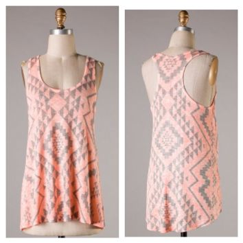 Neon Orange and Gray Aztec Tank