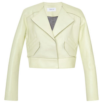 Bonded Leather Cropped Angled Lapel Jacket by Derek Lam 10 Crosby - Moda Operandi