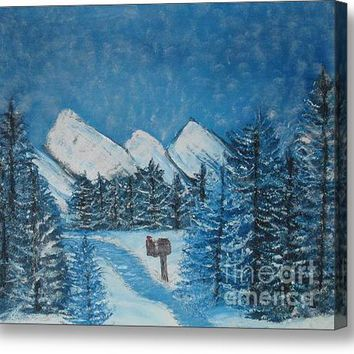 Oils On Canvas Blue Winter Acrylic Print