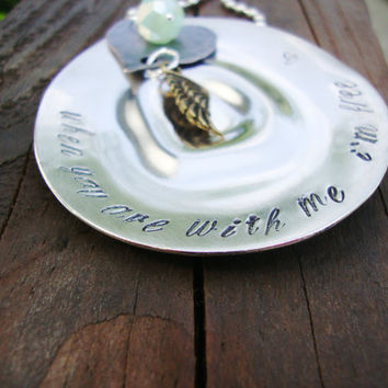 Creed inspired lyrics hand stamped teaspoon with mint green crystal, oxidized copper heart and antiqued bronze angel wing