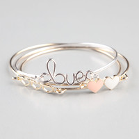 Full Tilt 3 Piece Heart/Love Wire Bangles Gold One Size For Women 24252462101