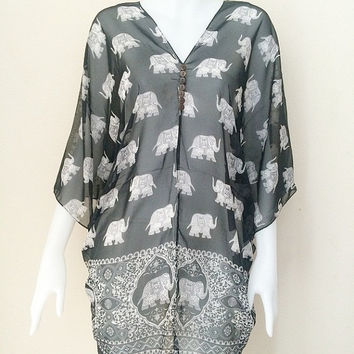 Beach Cover up Boho Hippie Kaftan Gypsy Tunic Caftan elephant print Black Top sheer dress free size