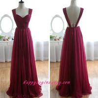 Long Chiffon Bridesmaid Dress Long Evening Gowns Formal Wedding Gowns Prom Dresses Custom