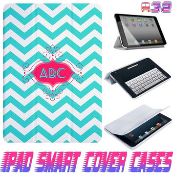USA Customize Blue Chevron Monogram On IPad Air, IPad Mini, IPad 4/3/2 Smart Cover PU Leather Magnetic6 Sleep Wake Case #32