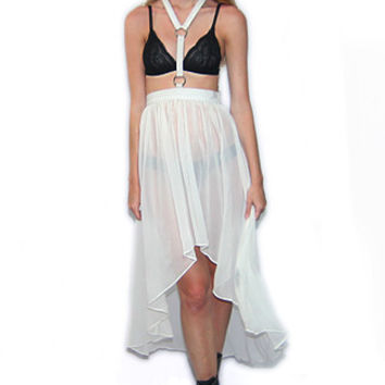 Fall From Grace Hi- Lo Skirt w/ Snake Skin Halter Harness in Off-White - Off-White /