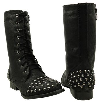 Women's Casual Spiked Toe and Heel Casual Comfort Boots US Size 6-10 Black