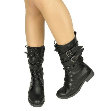 Women's Mid Calf Cross Strap Buckle Comfort Lace Up Combat Boots US Size 5.5-10 Black