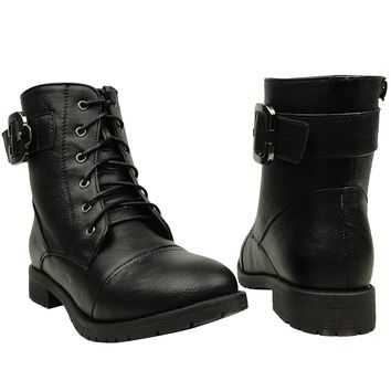 Women's Casual Comfort Rounded Toe Combat Ankle Boots US Sizes 5.5-10 Black