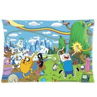 Custom FINN AND JAKE ADVENTURE TIME Pillowcase Standard Size Design Cotton Pillow Case