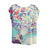 Iwoo Flower Pattern Batwing Sleeve Women Shirt