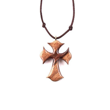 Wooden Cross Necklace, Wood Cross Pendant, Men Cross Necklace, Hand Carved Cross, Christian Jewelry, Unisex Wood Cross, Wood Cross Jewelry