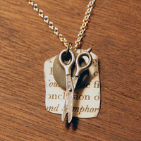 Rock Paper Scissor Necklace silver by RPSshoot on Etsy