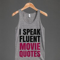 I SPEAK FLUENT MOVIE QUOTES TANK TOP PINK BLK ID6221747