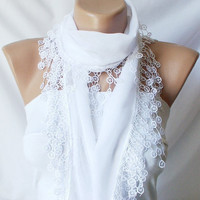 White Snow white Cotton Scarf with Lace by Periay on Etsy