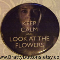 Walking Dead Keep Calm and Look at the Flowers Pin 2.25 Inch Round Pinback Button Badge