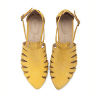 Alice, Yellow shoes, Flats, Leather Sandals, Handmade, Flat Sandals