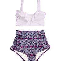 White Top and Purple Ruched High Waist Waisted Vintage Retro style Shorts Bottom Swimsuit Swimsuits Swimwear Bathing suit Swim costume S M
